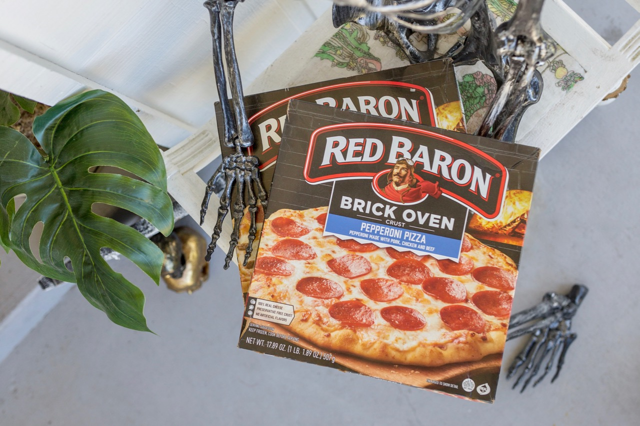 Red Baron pizza for halloween dinner solution