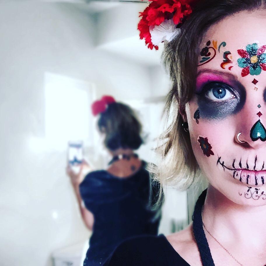 dia de los muertos face paint easy