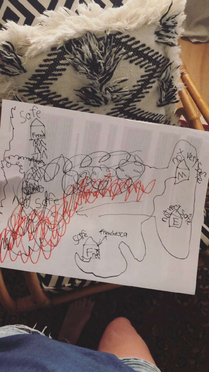 child's drawing of Malibu woolsey wild fires