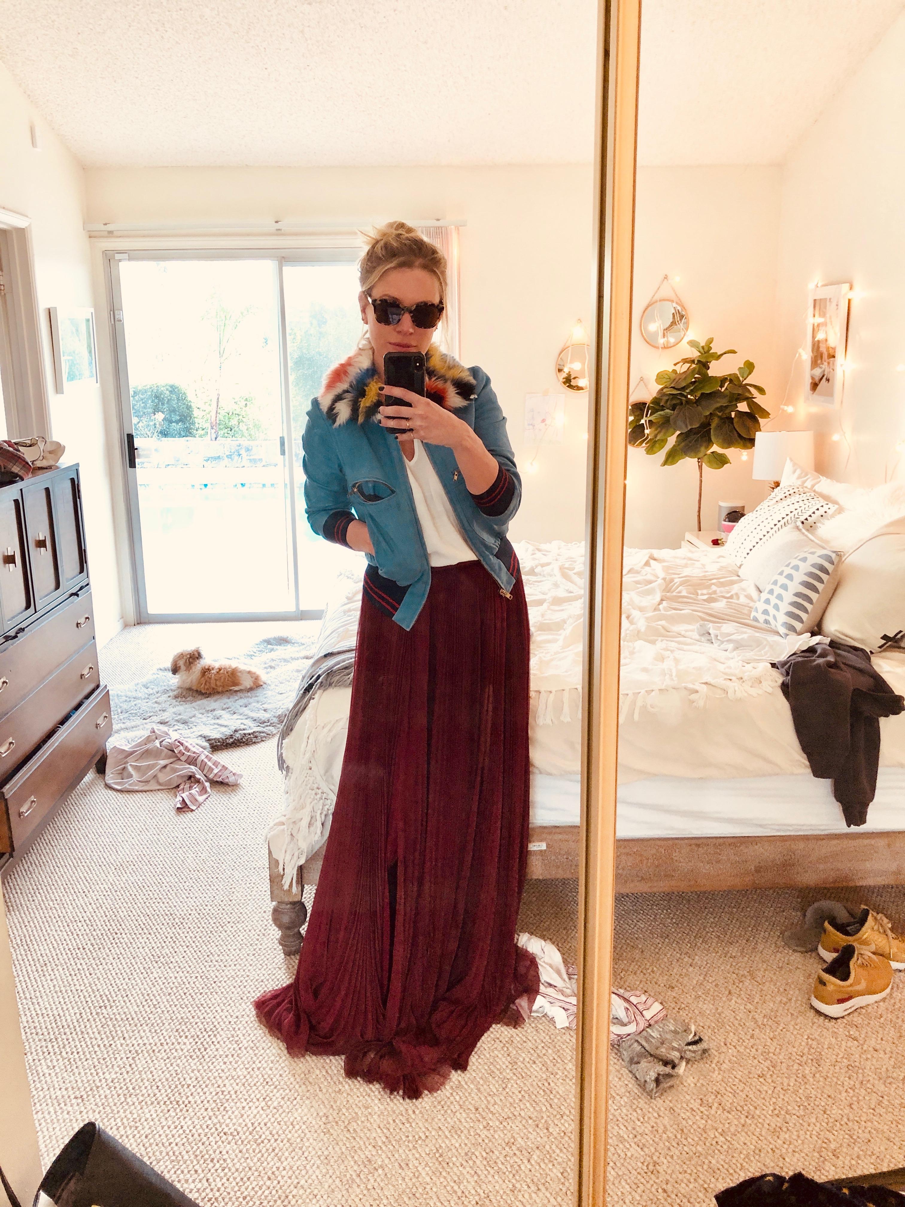 j mendel burgundy skirt