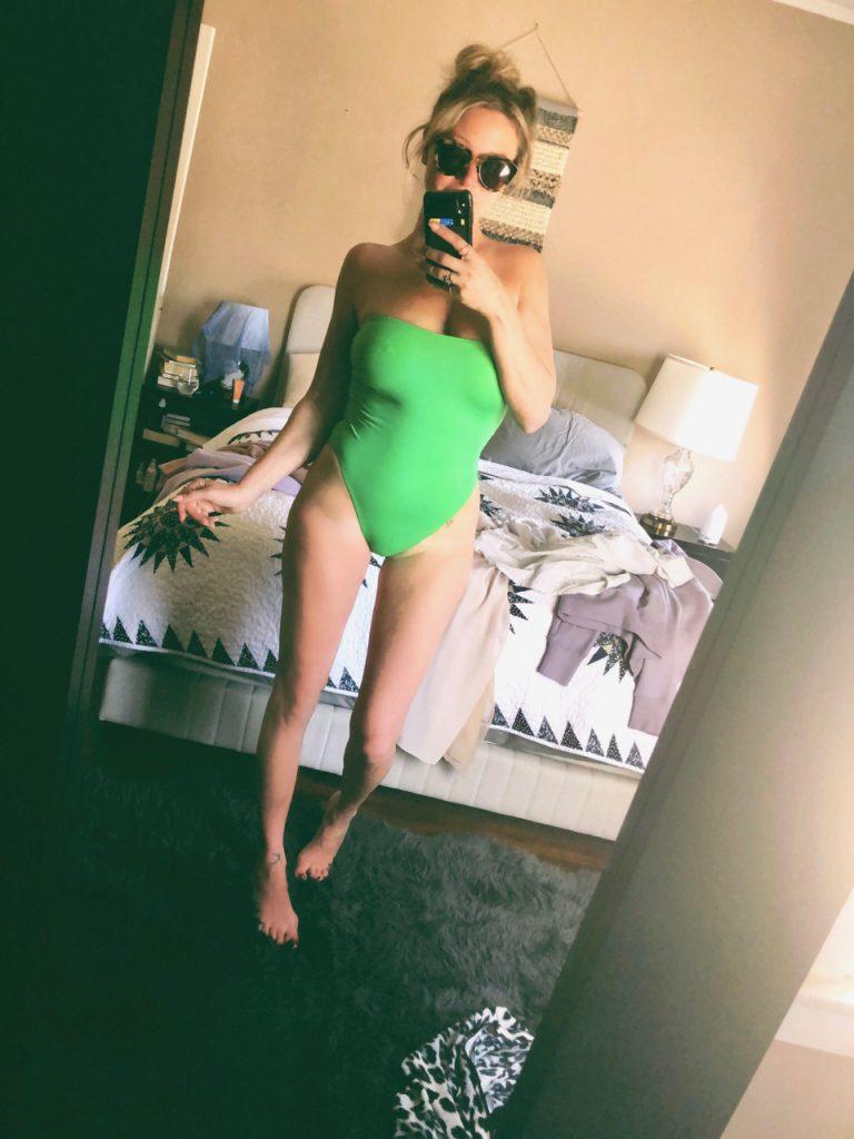 norma Kamari high cut lime green suit