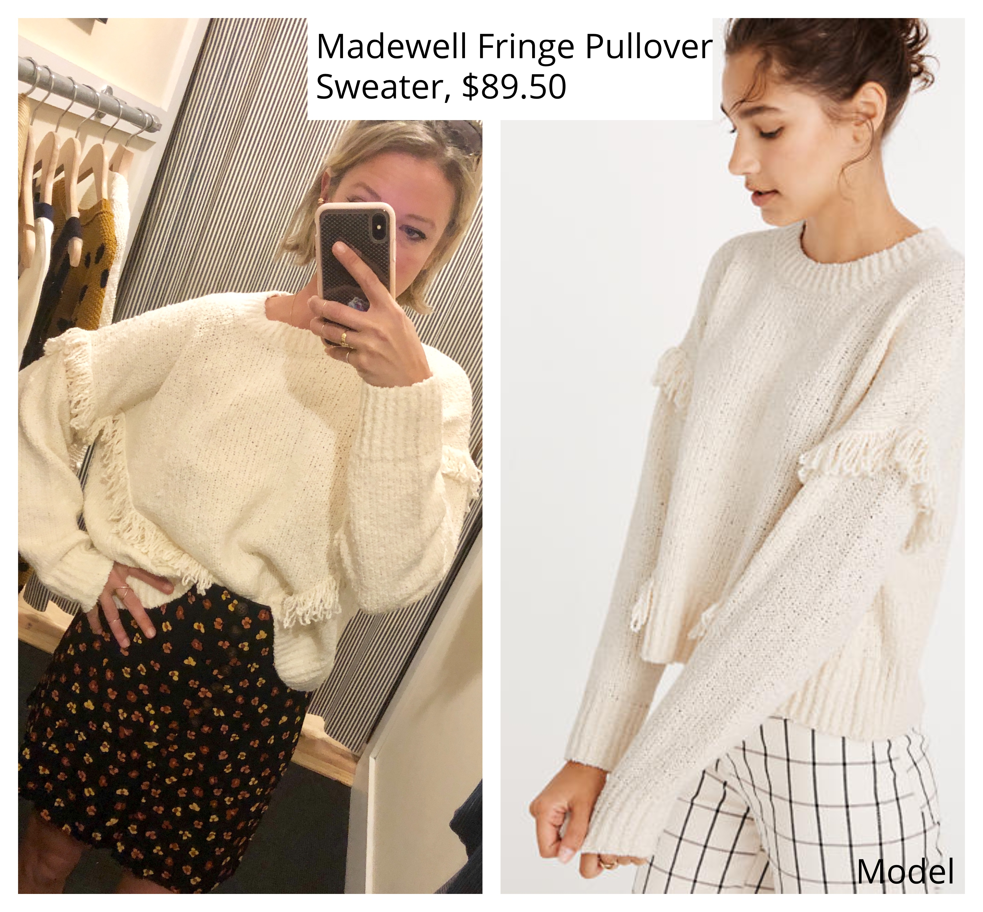 madewell montford fringe pullover sweater