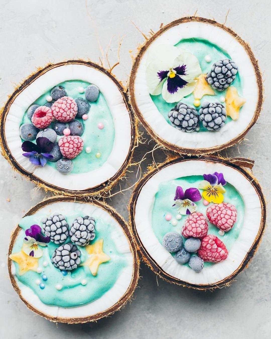 frozen coconut bowl flowers fruit