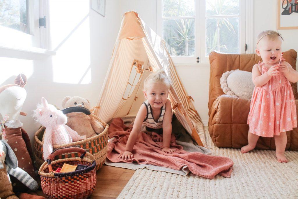 mustard stripe tent playroom