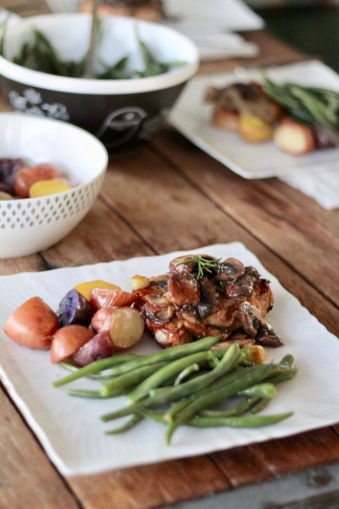 apple cider pork medallions with shallots and mushrooms