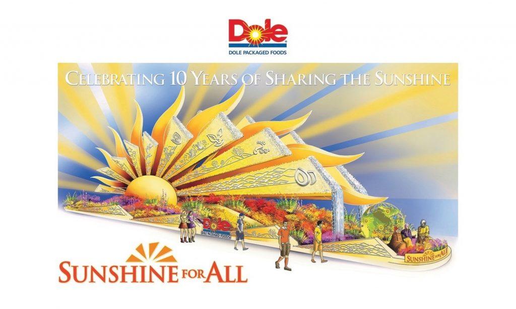 dole rose parade float sunshine for all