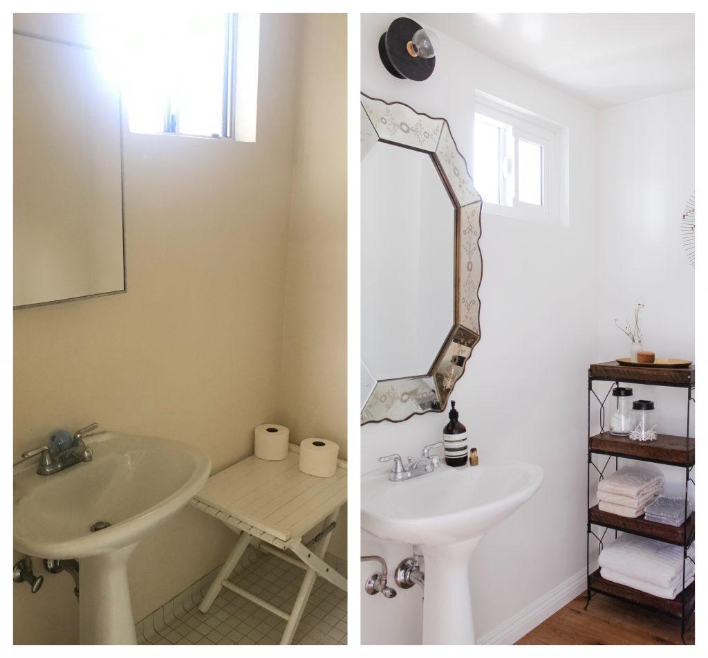 bathroom remodel vintage mirror before and after
