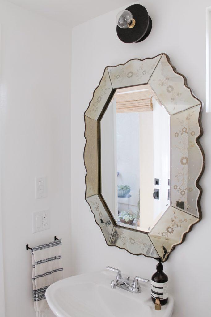 bathroom remodel vintage mirror