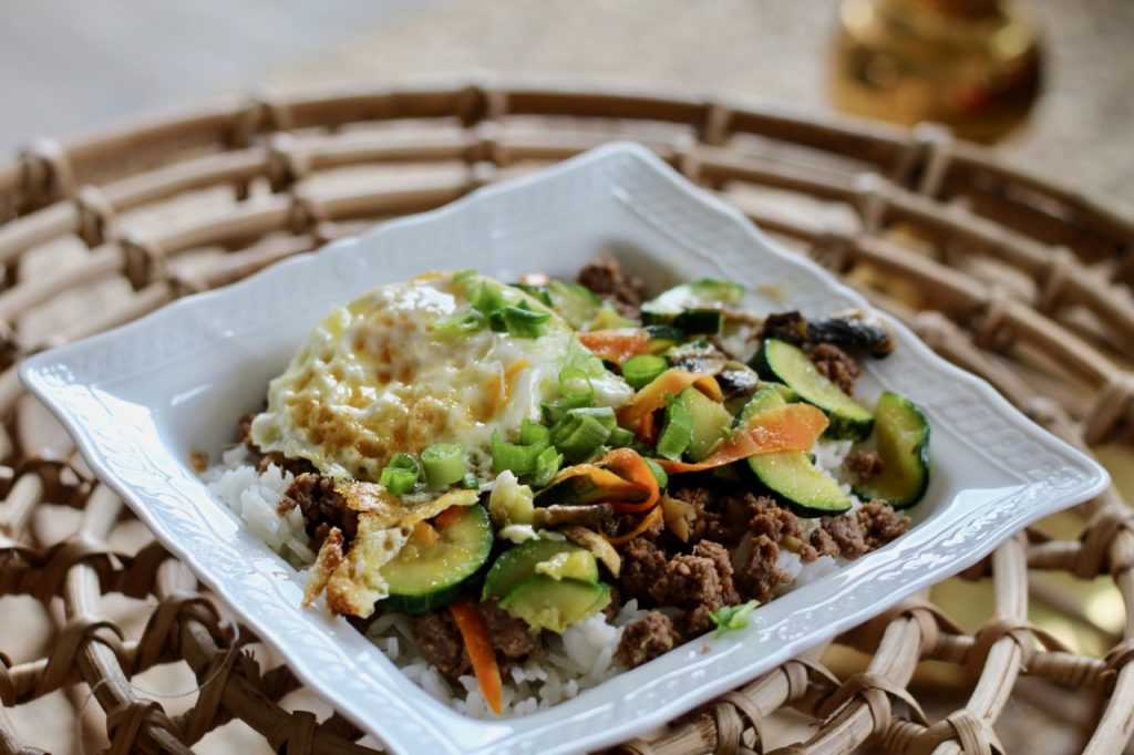 easy Korean beef bibimbap with a fried egg