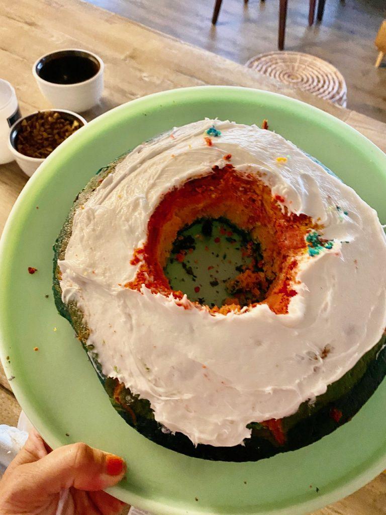 willy Wonka candyland rainbow surprise cake